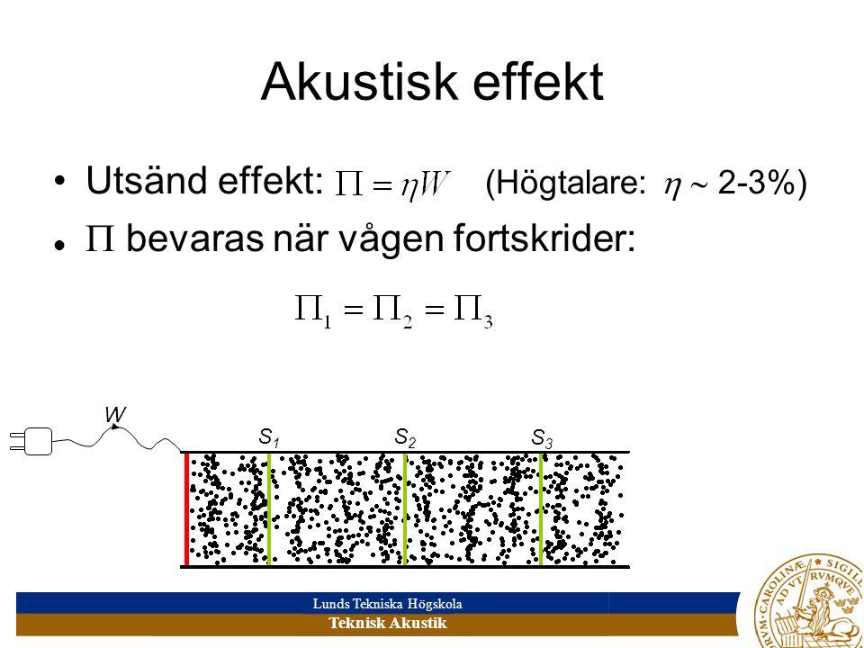 Lunds Tekniska Högskola Teknisk Akustik Akustisk effekt •Utsänd effekt: (Högtalare:   2-3%)   bevaras när vågen fortskrider: W S1S1 S2S2 S3S3