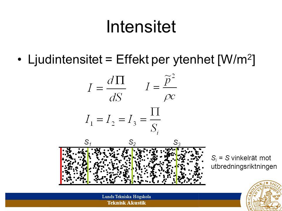 Lunds Tekniska Högskola Teknisk Akustik Intensitet •Ljudintensitet = Effekt per ytenhet [W/m 2 ] S i = S vinkelrät mot utbredningsriktningen S1S1 S2S2 S3S3