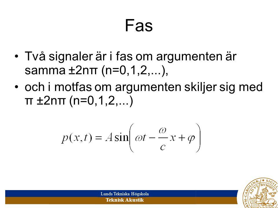 Lunds Tekniska Högskola Teknisk Akustik Fas •Två signaler är i fas om argumenten är samma ±2nπ (n=0,1,2,...), •och i motfas om argumenten skiljer sig med π ±2nπ (n=0,1,2,...)