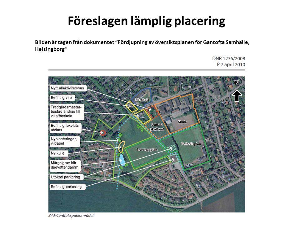 """Föreslagen lämplig placering Bilden är tagen från dokumentet """"Fördjupning av översiktsplanen för Gantofta Samhälle, Helsingborg"""""""