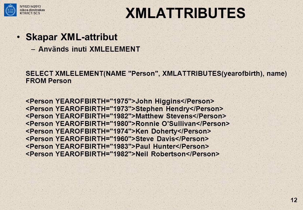 IV1023 ht2013 nikos dimitrakas KTH/ICT/SCS 12 XMLATTRIBUTES •Skapar XML-attribut –Används inuti XMLELEMENT SELECT XMLELEMENT(NAME