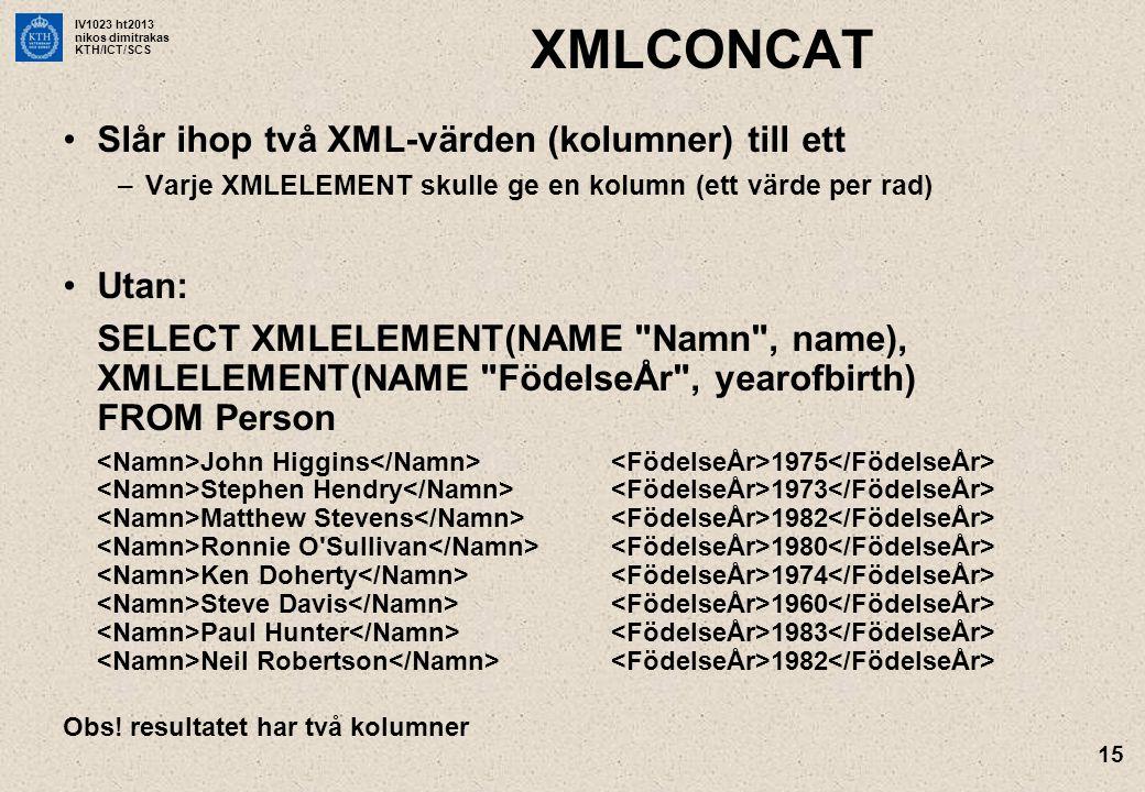 IV1023 ht2013 nikos dimitrakas KTH/ICT/SCS 15 XMLCONCAT •Slår ihop två XML-värden (kolumner) till ett –Varje XMLELEMENT skulle ge en kolumn (ett värde