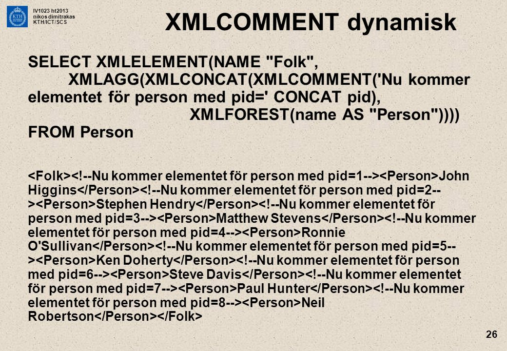 IV1023 ht2013 nikos dimitrakas KTH/ICT/SCS 26 XMLCOMMENT dynamisk SELECT XMLELEMENT(NAME Folk , XMLAGG(XMLCONCAT(XMLCOMMENT( Nu kommer elementet för person med pid= CONCAT pid), XMLFOREST(name AS Person )))) FROM Person John Higgins Stephen Hendry Matthew Stevens Ronnie O Sullivan Ken Doherty Steve Davis Paul Hunter Neil Robertson