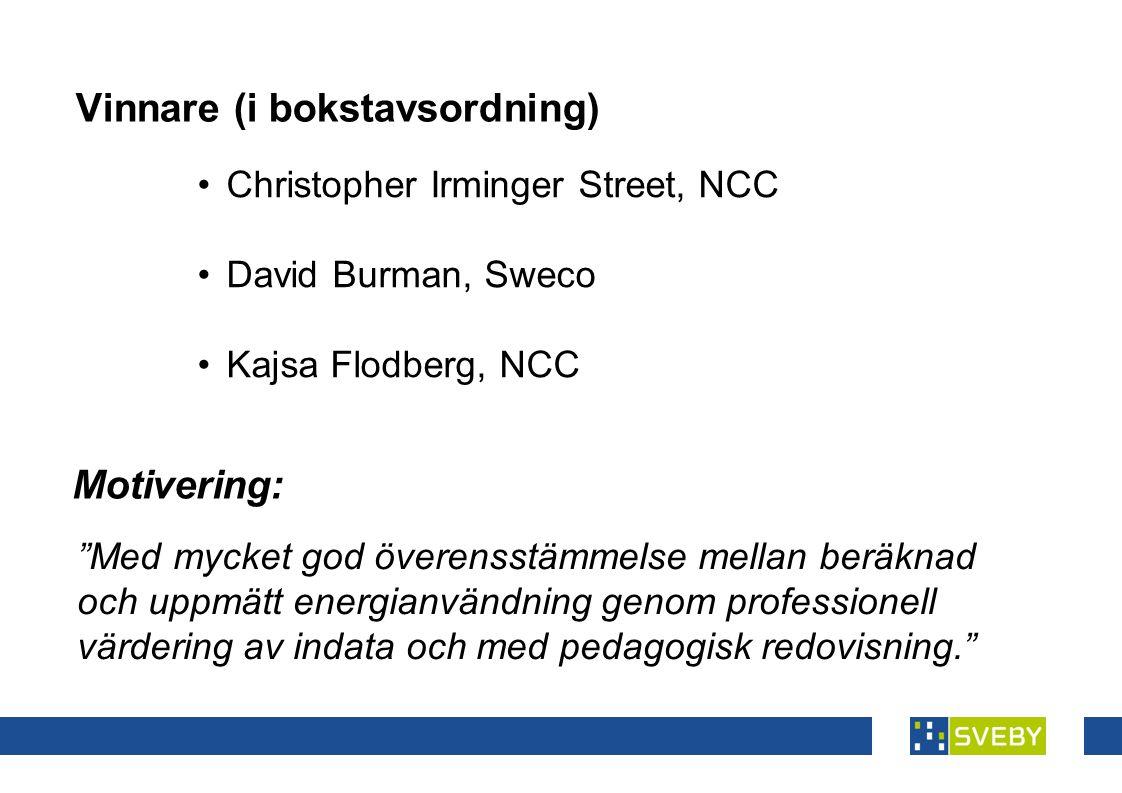 Vinnare (i bokstavsordning) • Christopher Irminger Street, NCC • David Burman, Sweco • Kajsa Flodberg, NCC Med mycket god överensstämmelse mellan beräknad och uppmätt energianvändning genom professionell värdering av indata och med pedagogisk redovisning. Motivering: