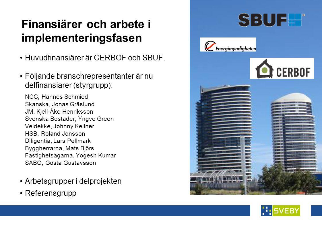 Finansiärer och arbete i implementeringsfasen •Huvudfinansiärer är CERBOF och SBUF.