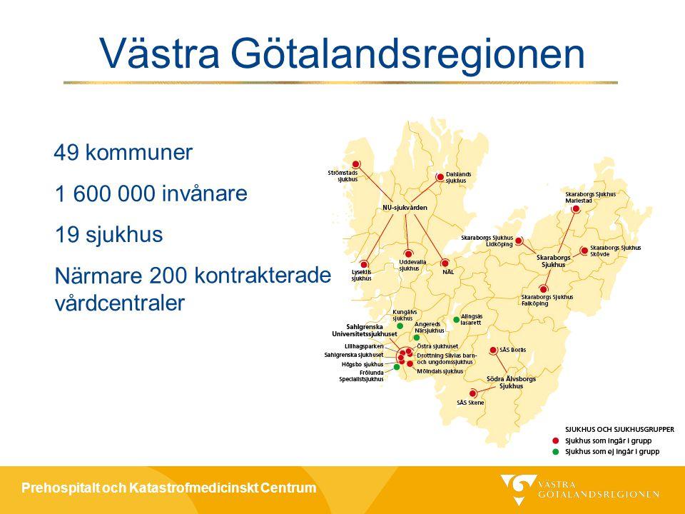 Prehospitalt och Katastrofmedicinskt Centrum 49 kommuner 1 600 000 invånare 19 sjukhus Närmare 200 kontrakterade vårdcentraler Västra Götalandsregionen