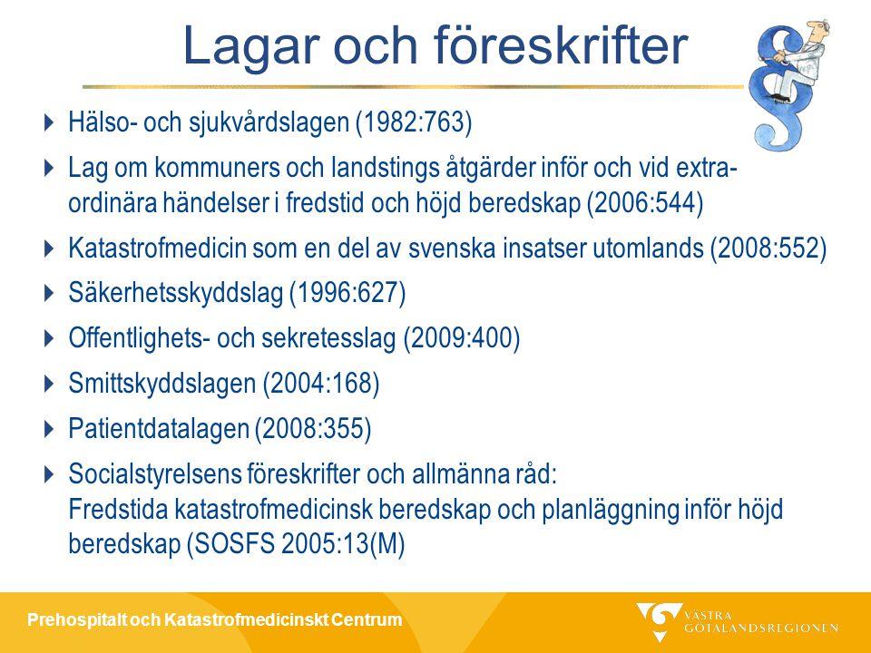 Prehospitalt och Katastrofmedicinskt Centrum Lagar och föreskrifter  Hälso- och sjukvårdslagen (1982:763)  Lag om kommuners och landstings åtgärder inför och vid extra- ordinära händelser i fredstid och höjd beredskap (2006:544)  Katastrofmedicin som en del av svenska insatser utomlands (2008:552)  Säkerhetsskyddslag (1996:627)  Offentlighets- och sekretesslag (2009:400)  Smittskyddslagen (2004:168)  Patientdatalagen (2008:355)  Socialstyrelsens föreskrifter och allmänna råd: Fredstida katastrofmedicinsk beredskap och planläggning inför höjd beredskap (SOSFS 2005:13(M)