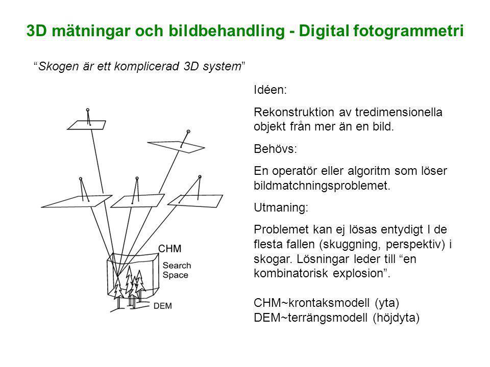 3D mätningar och bildbehandling - Digital fotogrammetri Skogen är ett komplicerad 3D system Idéen: Rekonstruktion av tredimensionella objekt från mer än en bild.