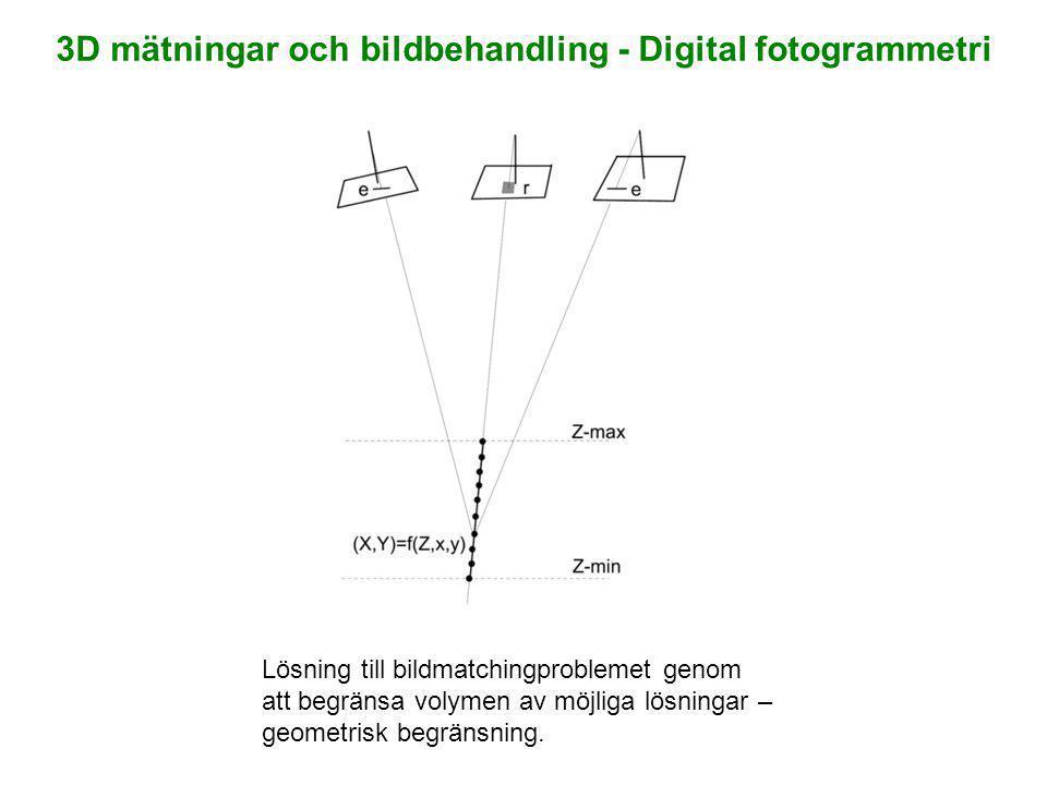 Lösning till bildmatchingproblemet genom att begränsa volymen av möjliga lösningar – geometrisk begränsning. 3D mätningar och bildbehandling - Digital
