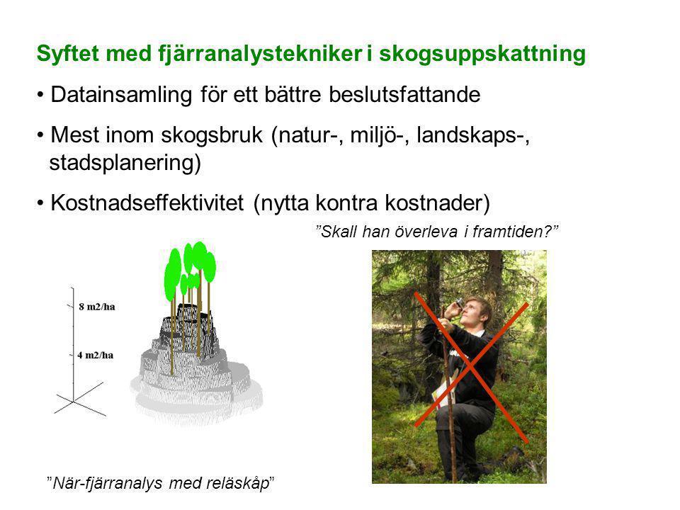 Syftet med fjärranalystekniker i skogsuppskattning • Datainsamling för ett bättre beslutsfattande • Mest inom skogsbruk (natur-, miljö-, landskaps-, stadsplanering) • Kostnadseffektivitet (nytta kontra kostnader) När-fjärranalys med reläskåp Skall han överleva i framtiden?