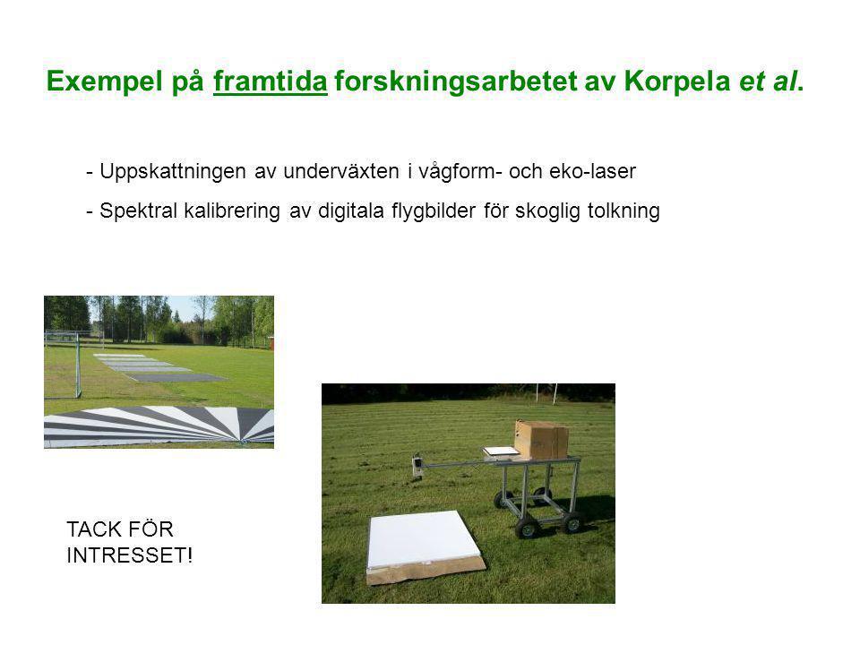 Exempel på framtida forskningsarbetet av Korpela et al. - Uppskattningen av underväxten i vågform- och eko-laser - Spektral kalibrering av digitala fl