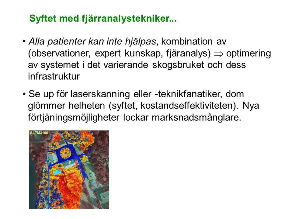 Syftet med fjärranalystekniker... • Alla patienter kan inte hjälpas, kombination av (observationer, expert kunskap, fjäranalys)  optimering av system