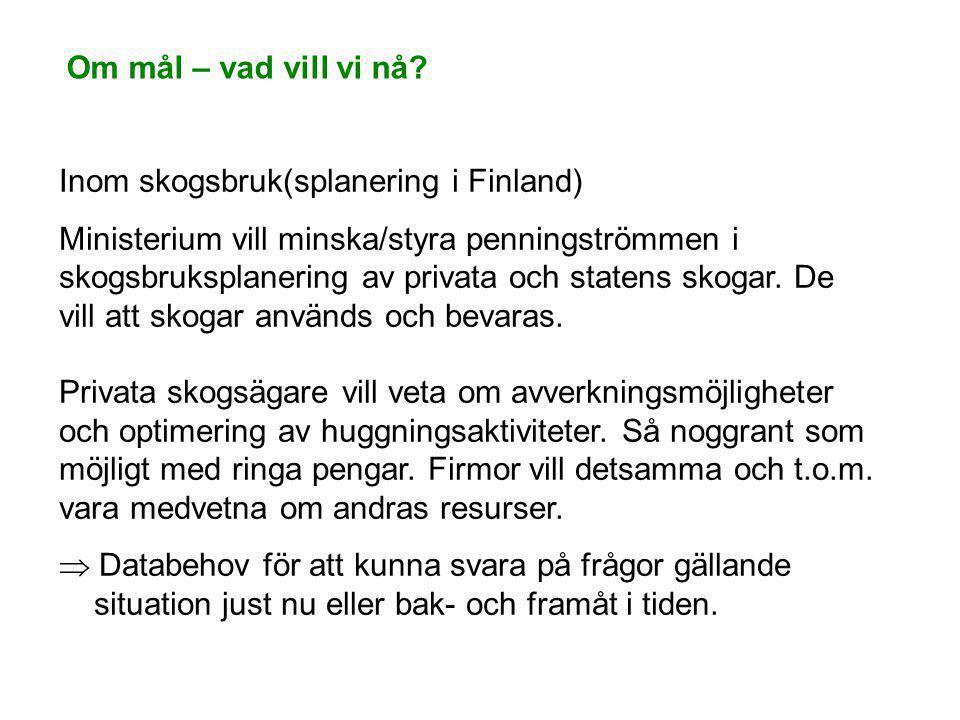 Om mål – vad vill vi nå? Inom skogsbruk(splanering i Finland) Ministerium vill minska/styra penningströmmen i skogsbruksplanering av privata och state