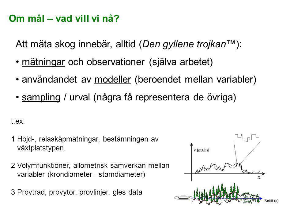 Om mål – vad vill vi nå? Att mäta skog innebär, alltid (Den gyllene trojkan™): • mätningar och observationer (själva arbetet) • användandet av modelle