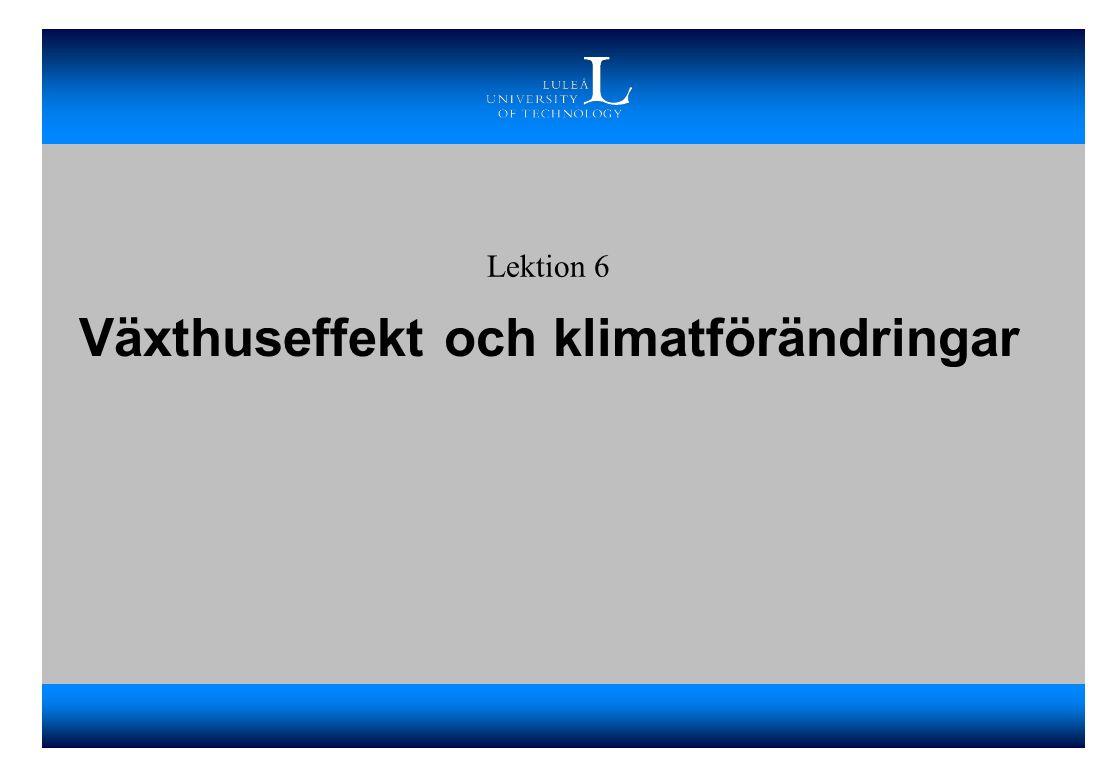 Växthuseffekt och klimatförändringar Lektion 6