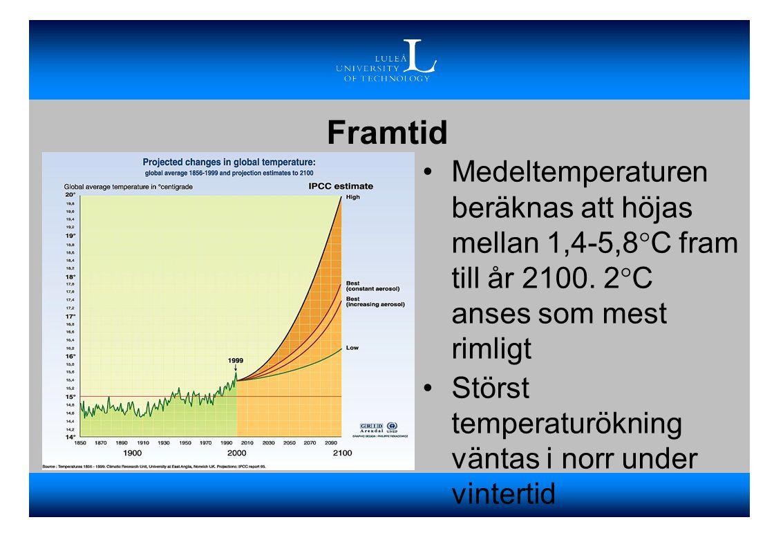 Framtid •Medeltemperaturen beräknas att höjas mellan 1,4-5,8°C fram till år 2100. 2°C anses som mest rimligt •Störst temperaturökning väntas i norr un
