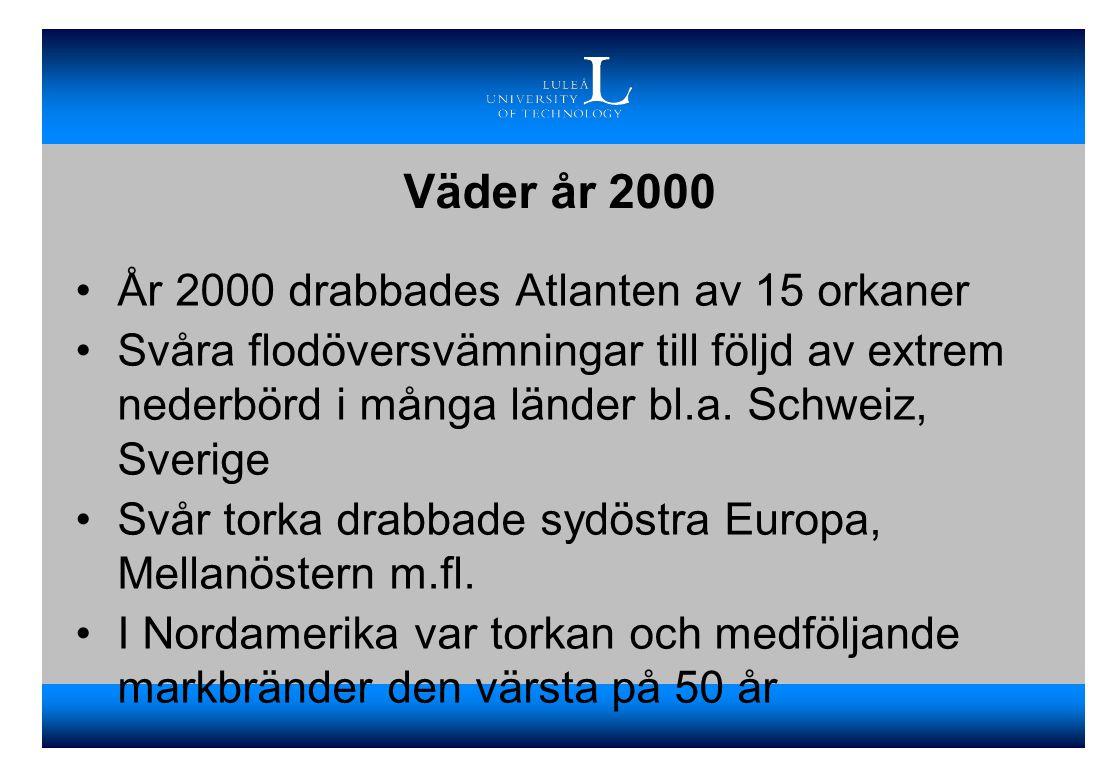 Väder år 2000 •År 2000 drabbades Atlanten av 15 orkaner •Svåra flodöversvämningar till följd av extrem nederbörd i många länder bl.a. Schweiz, Sverige