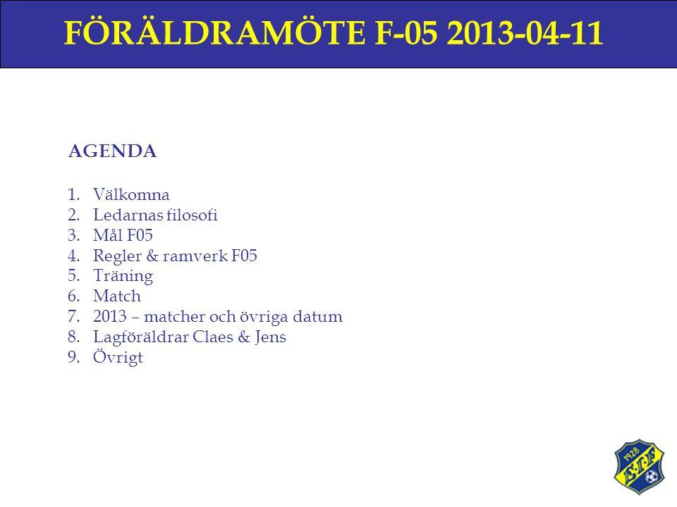 FÖRÄLDRAMÖTE F-05 2013-04-11 AGENDA 1.Välkomna 2.Ledarnas filosofi 3.Mål F05 4.Regler & ramverk F05 5.Träning 6.Match 7.2013 – matcher och övriga datum 8.Lagföräldrar Claes & Jens 9.Övrigt