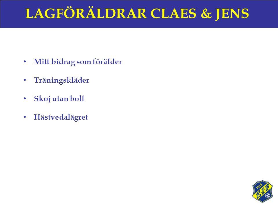 LAGFÖRÄLDRAR CLAES & JENS • Mitt bidrag som förälder • Träningskläder • Skoj utan boll • Hästvedalägret