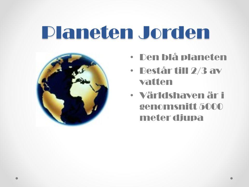 • Den blå planeten • Består till 2/3 av vatten • Världshaven är i genomsnitt 5000 meter djupa