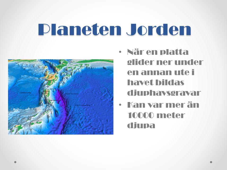 Planeten Jorden • När en platta glider ner under en annan ute i havet bildas djuphavsgravar • Kan var mer än 10000 meter djupa