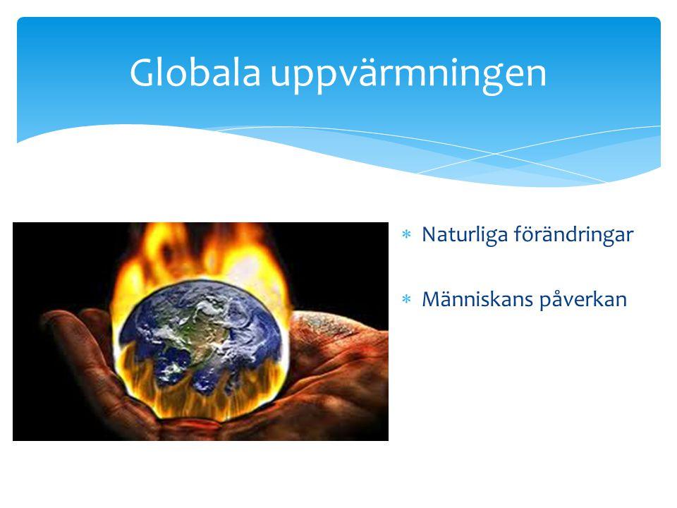 Globala uppvärmningen  Naturliga förändringar  Människans påverkan