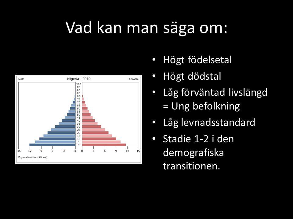 Vad kan man säga om: • Högt födelsetal • Högt dödstal • Låg förväntad livslängd = Ung befolkning • Låg levnadsstandard • Stadie 1-2 i den demografiska
