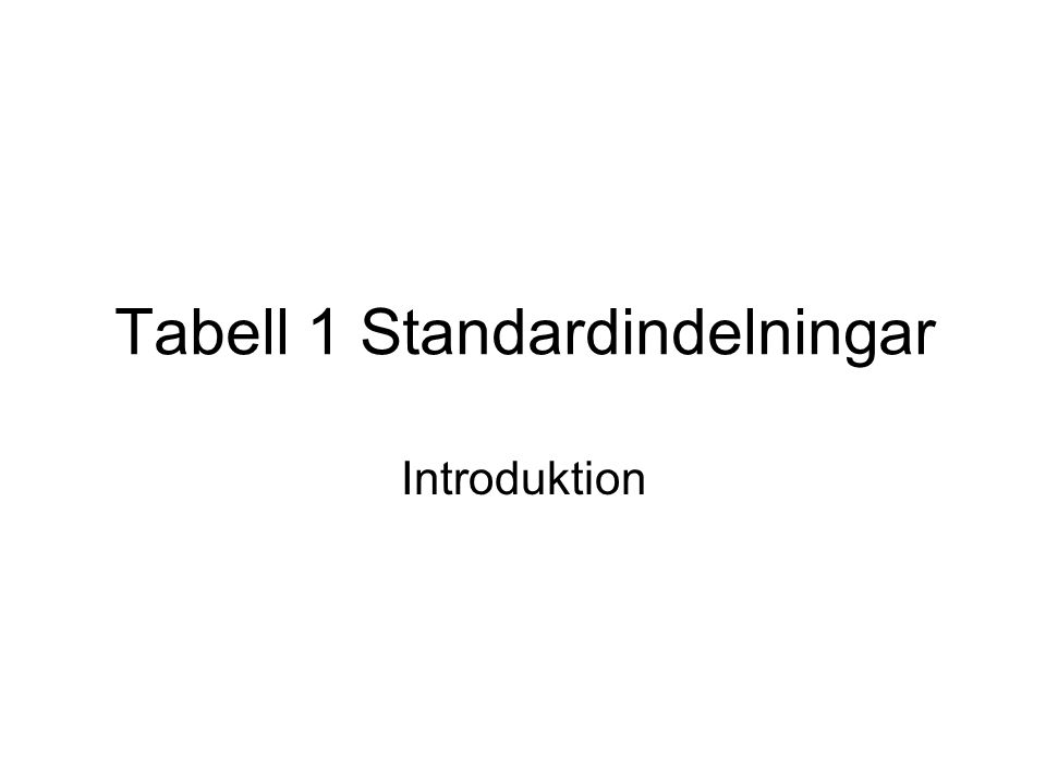 Tabell 1 Standardindelningar Introduktion