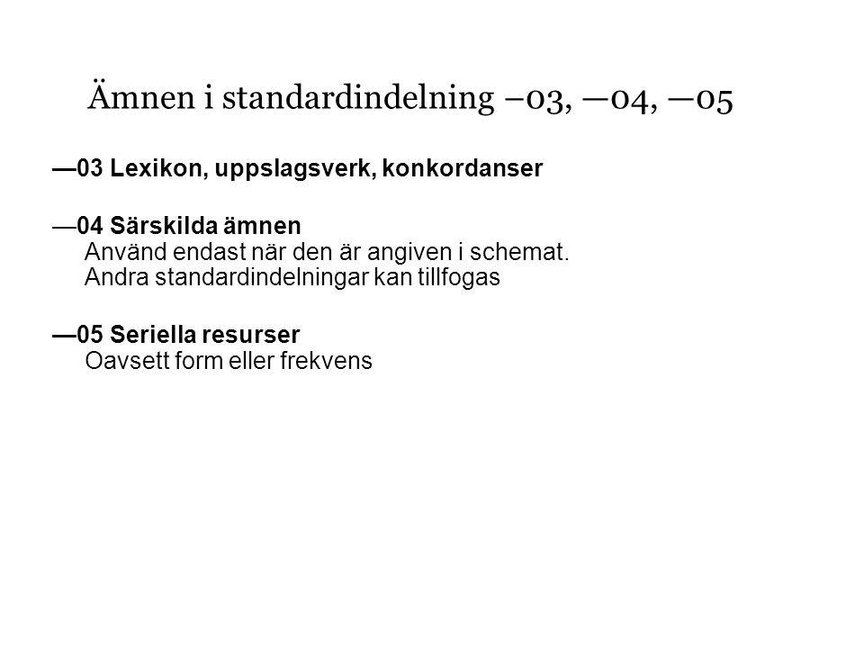 —03 Lexikon, uppslagsverk, konkordanser —04 Särskilda ämnen Använd endast när den är angiven i schemat.