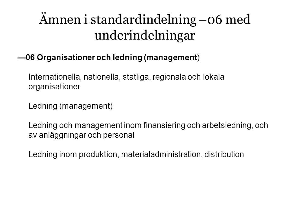 —06 Organisationer och ledning (management) Internationella, nationella, statliga, regionala och lokala organisationer Ledning (management) Ledning och management inom finansiering och arbetsledning, och av anläggningar och personal Ledning inom produktion, materialadministration, distribution Ämnen i standardindelning –06 med underindelningar