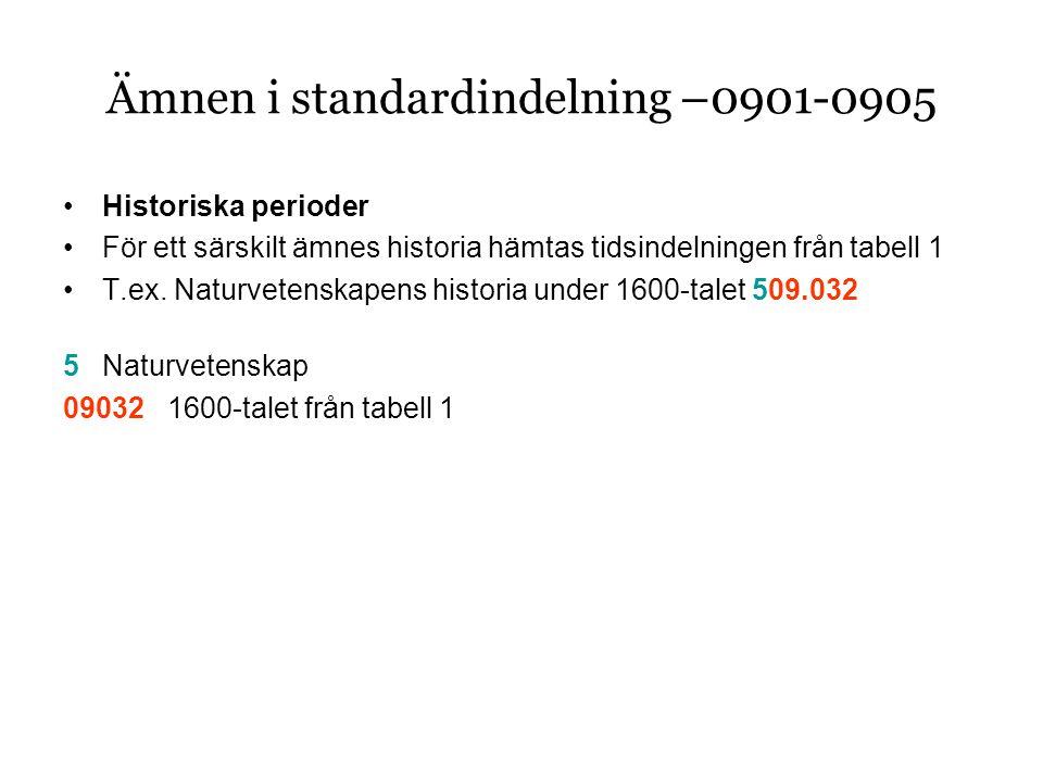 Ämnen i standardindelning –0901-0905 •Historiska perioder •För ett särskilt ämnes historia hämtas tidsindelningen från tabell 1 •T.ex.