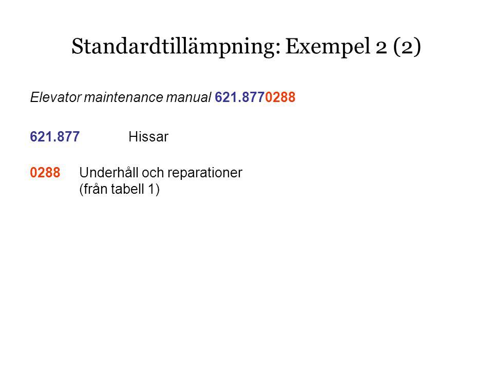 Elevator maintenance manual 621.8770288 621.877Hissar 0288Underhåll och reparationer (från tabell 1) Standardtillämpning: Exempel 2 (2)