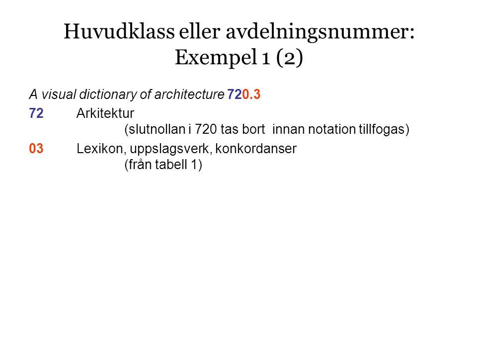 A visual dictionary of architecture 720.3 72Arkitektur (slutnollan i 720 tas bort innan notation tillfogas) 03Lexikon, uppslagsverk, konkordanser (från tabell 1) Huvudklass eller avdelningsnummer: Exempel 1 (2)