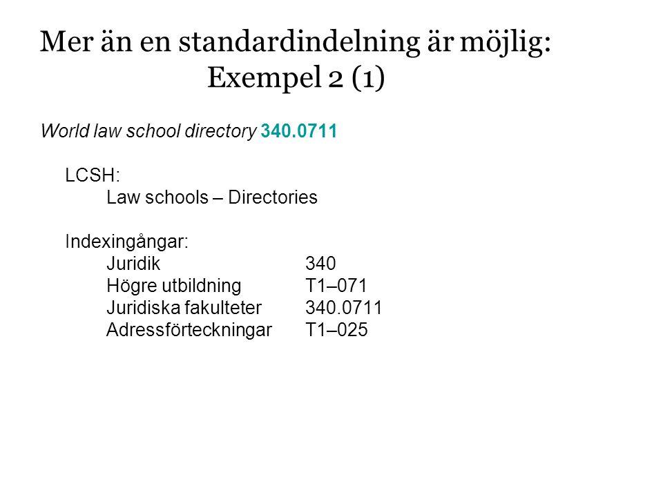 Mer än en standardindelning är möjlig: Exempel 2 (1) World law school directory 340.0711 LCSH: Law schools – Directories Indexingångar: Juridik340 Högre utbildningT1–071 Juridiska fakulteter340.0711 AdressförteckningarT1–025