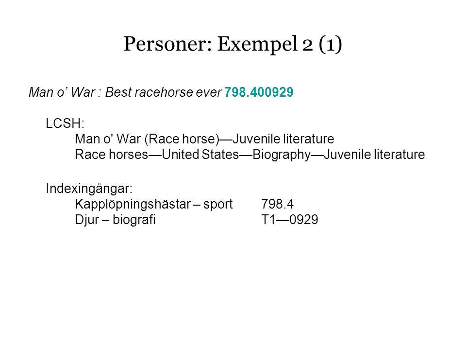 Personer: Exempel 2 (1) Man o' War : Best racehorse ever 798.400929 LCSH: Man o War (Race horse)—Juvenile literature Race horses—United States—Biography—Juvenile literature Indexingångar: Kapplöpningshästar – sport798.4 Djur – biografiT1—0929