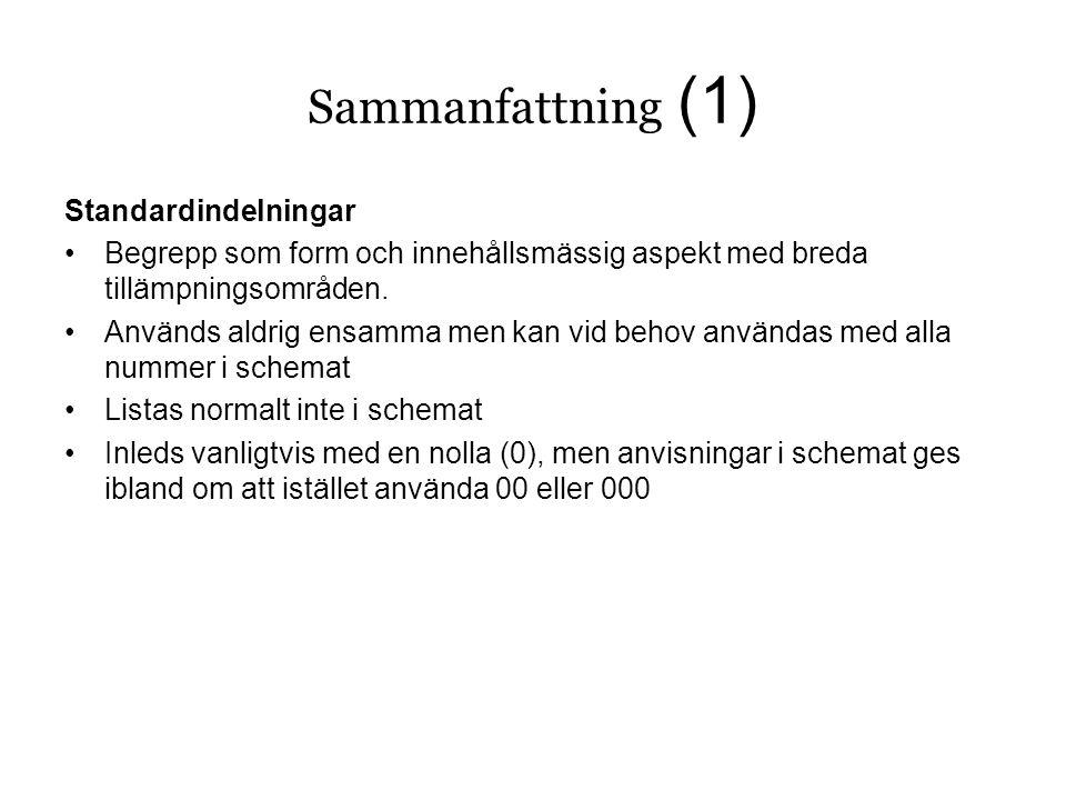 Sammanfattning (1) Standardindelningar •Begrepp som form och innehållsmässig aspekt med breda tillämpningsområden.