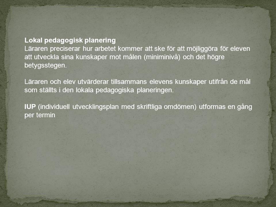 Lokal pedagogisk planering Läraren preciserar hur arbetet kommer att ske för att möjliggöra för eleven att utveckla sina kunskaper mot målen (miniminivå) och det högre betygsstegen.