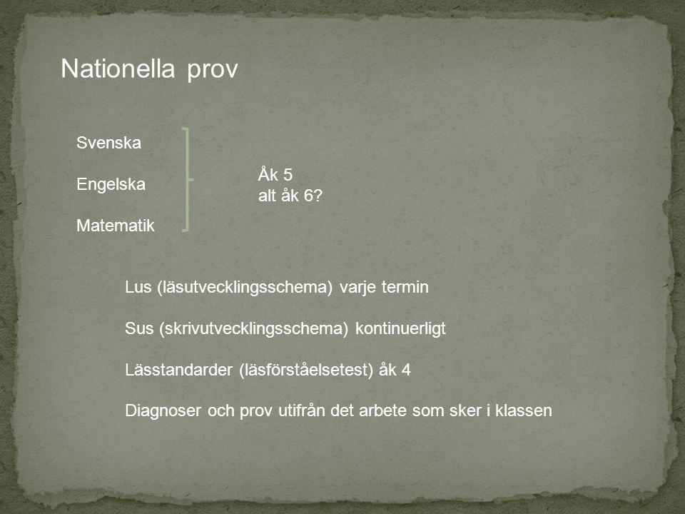 Nationella prov Svenska Engelska Matematik Åk 5 alt åk 6? Lus (läsutvecklingsschema) varje termin Sus (skrivutvecklingsschema) kontinuerligt Lässtanda