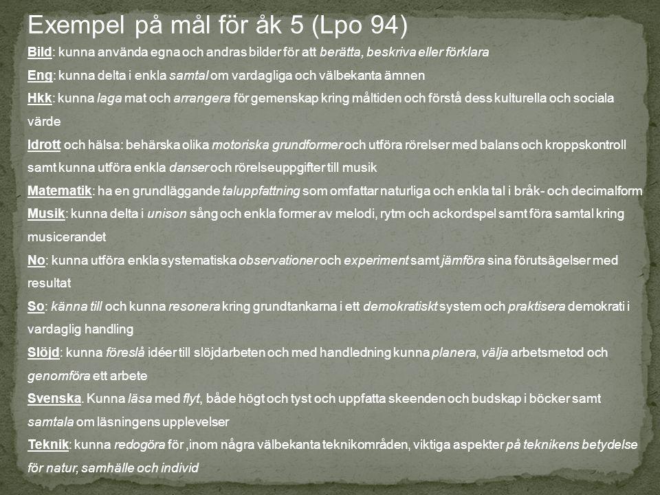Exempel på mål för åk 5 (Lpo 94) Bild: kunna använda egna och andras bilder för att berätta, beskriva eller förklara Eng: kunna delta i enkla samtal o