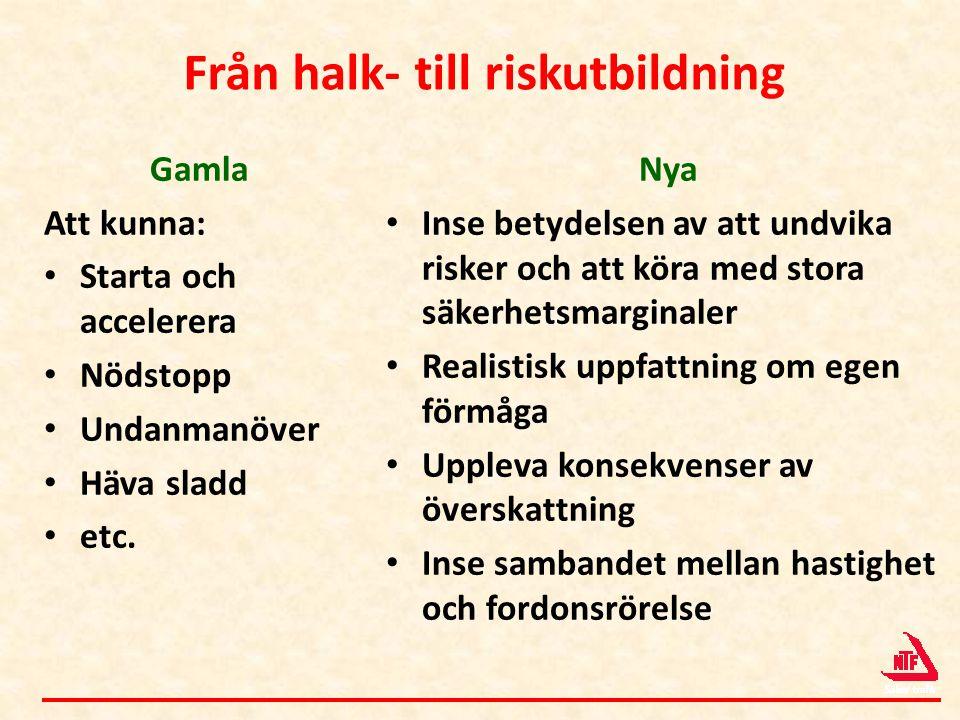Från halk- till riskutbildning Gamla Att kunna: • Starta och accelerera • Nödstopp • Undanmanöver • Häva sladd • etc. Nya • Inse betydelsen av att und