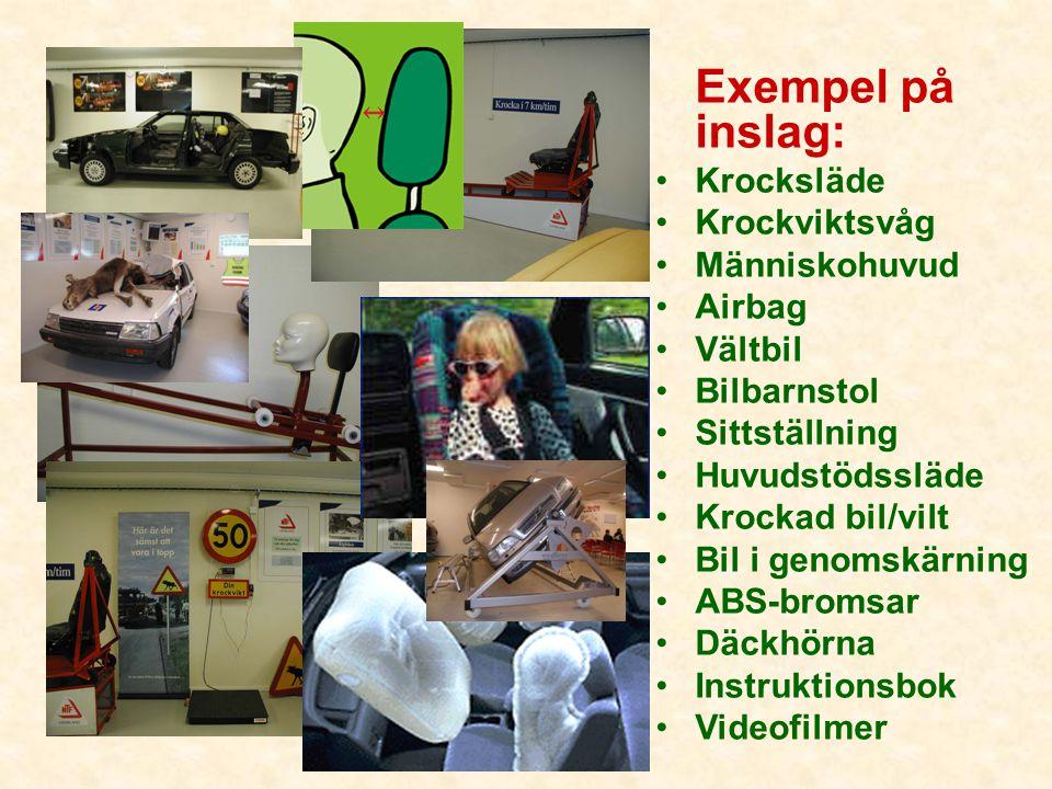 Exempel på inslag: •Krocksläde •Krockviktsvåg •Människohuvud •Airbag •Vältbil •Bilbarnstol •Sittställning •Huvudstödssläde •Krockad bil/vilt •Bil i ge