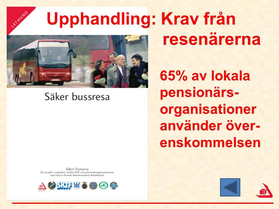 65% av lokala pensionärs- organisationer använder över- enskommelsen Upphandling: Krav från resenärerna