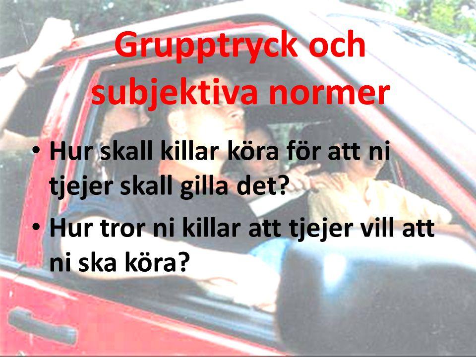Grupptryck och subjektiva normer • Hur skall killar köra för att ni tjejer skall gilla det? • Hur tror ni killar att tjejer vill att ni ska köra?