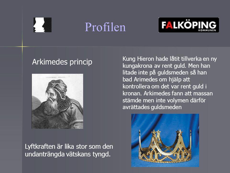 Profilen Arkimedes princip Lyftkraften är lika stor som den undanträngda vätskans tyngd. Kung Hieron hade låtit tillverka en ny kungakrona av rent gul