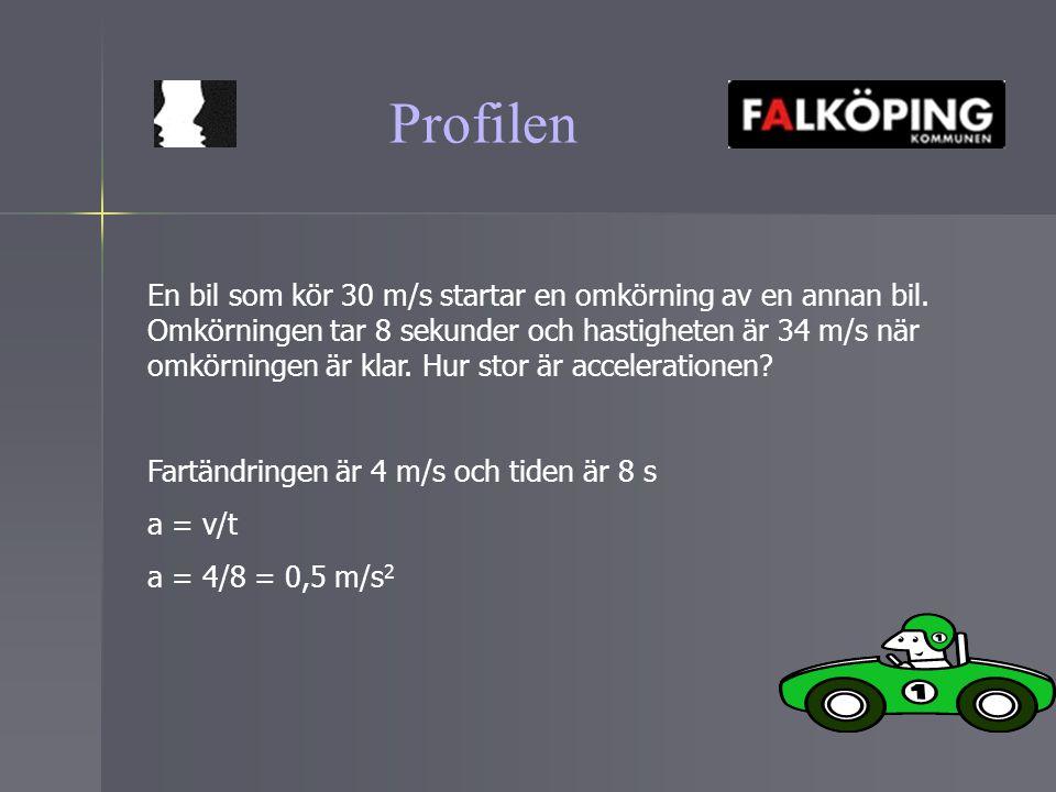 Profilen En bil som kör 30 m/s startar en omkörning av en annan bil. Omkörningen tar 8 sekunder och hastigheten är 34 m/s när omkörningen är klar. Hur