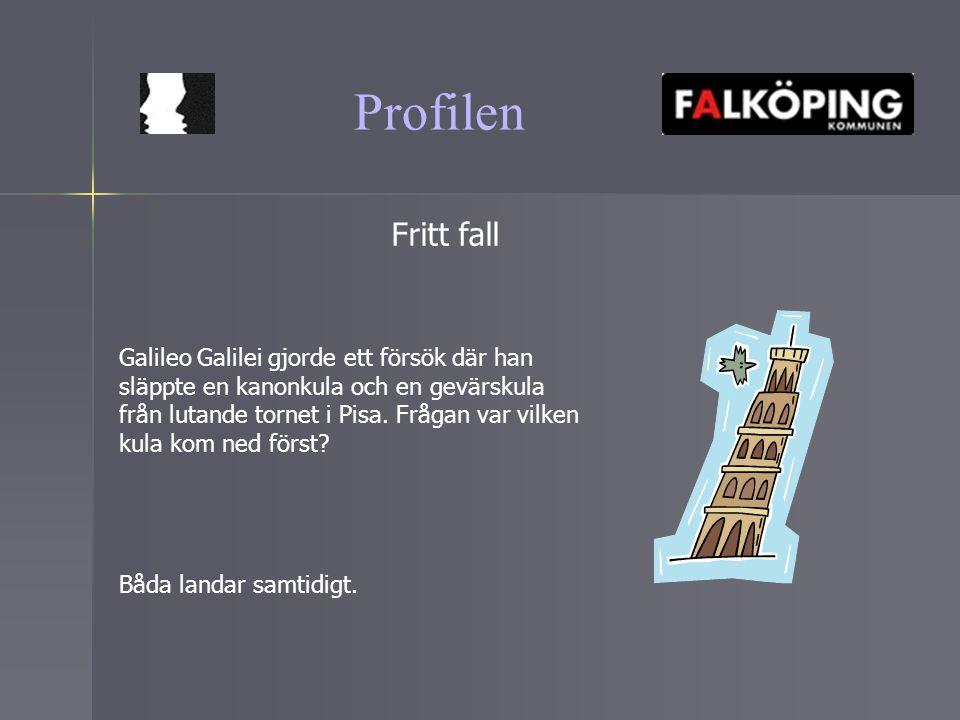 Profilen Fritt fall Galileo Galilei gjorde ett försök där han släppte en kanonkula och en gevärskula från lutande tornet i Pisa. Frågan var vilken kul
