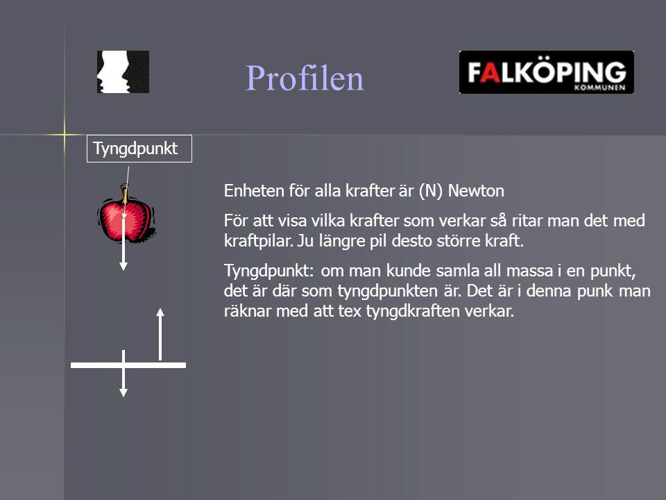 Profilen Enheten för alla krafter är (N) Newton För att visa vilka krafter som verkar så ritar man det med kraftpilar. Ju längre pil desto större kraf