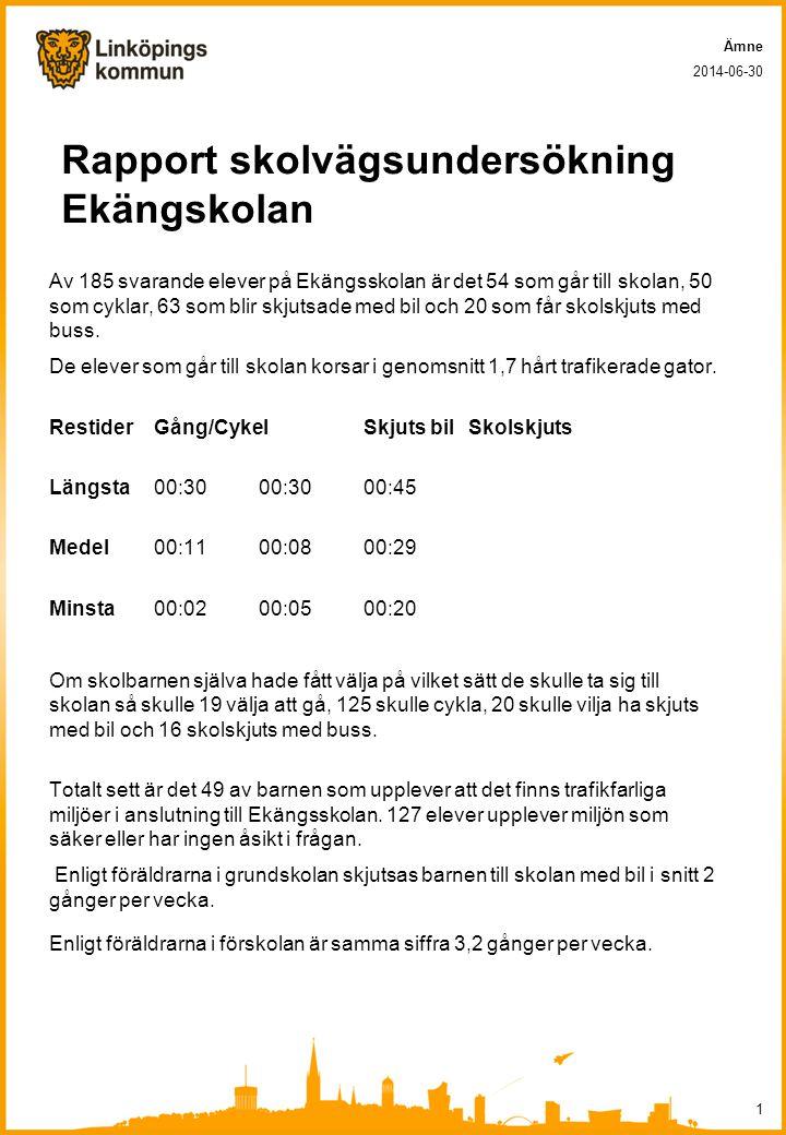 Rapport skolvägsundersökning Ekängskolan Av 185 svarande elever på Ekängsskolan är det 54 som går till skolan, 50 som cyklar, 63 som blir skjutsade me