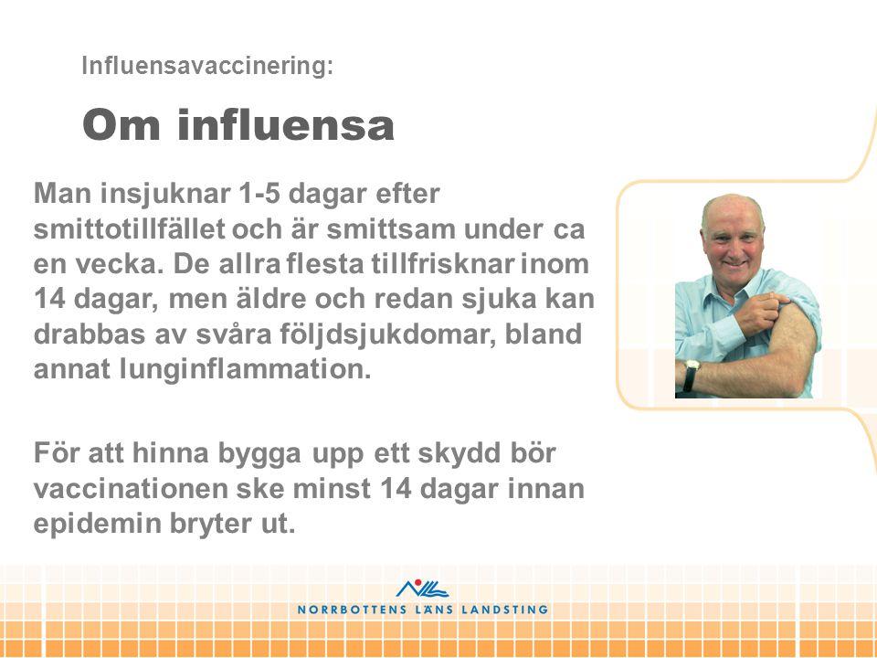 Man insjuknar 1-5 dagar efter smittotillfället och är smittsam under ca en vecka. De allra flesta tillfrisknar inom 14 dagar, men äldre och redan sjuk