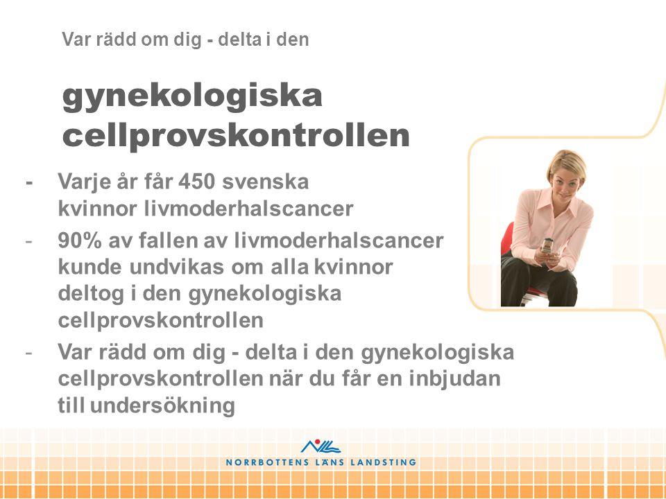 gynekologiska cellprovskontrollen - Varje år får 450 svenska kvinnor livmoderhalscancer -90% av fallen av livmoderhalscancer kunde undvikas om alla kv